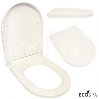 Premium D-SHAPE Soft Close WHITE Toilet Seat Bathroom | Top Fixing Hinges WC